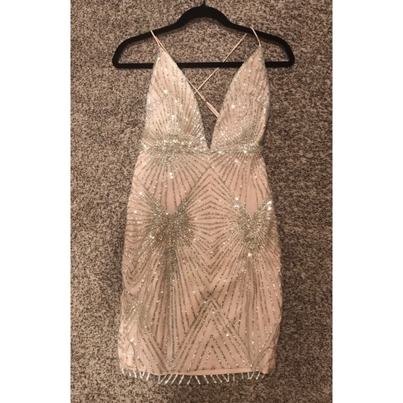 33451330e69b MESHKI Silver Jeweled Midi Dress NEW. M_5a5ec54ea6e3ea5e14864014